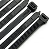 Kabelband 300 mm x 7,6 mm – slitstarka slipsfodral/premium buntband, 50 st i vitt och 50 st i svart
