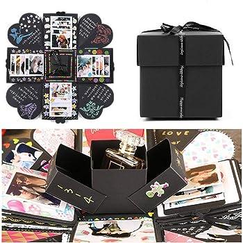 EKKONG Kreative Überraschung Box Explosions-Box DIY Faltendes Fotoalbum,Geburtstag Jahrestag Valentine Hochzeit Geschenk, für Hochzeit, Muttertag, DIY Geschenk (Schwarz)