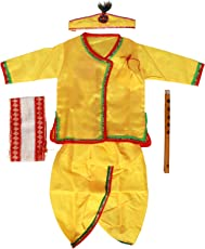 Krishnam Boys and Girls Dhoti Kurta Krishna Kids Costume Ethnic Wear Dress (Pack of 5 - Kurta, Dhoti, Bansuri, Mor Pankh Mukut, Bandhni Patka) Yellow