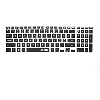 Neon Keyboard Skin Silicone Protector Cover for Dell Inspiron 5567 15.6 inch Laptop (Black-Clear)