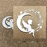 Matrice de découpe en métal Ange sur la lune Pour scrapbooking, loisirs créatifs, gaufrage, cartes en papier, pochoir Argenté