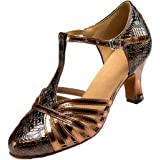 Scarpe da ballo da donna, con punta chiusa, con tacco a T e tacco a forma di gattino latino, per sala da ballo e discoteca