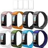 Ferilinso Bracciale 8 Pezzi Cinturini per Xiaomi Mi Band 4C + 4 Pack Proteggi Schermo, Cinturino in Silicone Bracciale Sostit