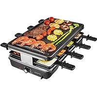 AONI Electric Raclette Grill Smokeless Party Grill Grill électrique avec surface de cuisson antiadhésive, 1200W Contrôle…