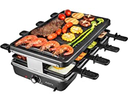 AONI Electric Raclette Grill Smokeless Party Grill Grill électrique avec surface de cuisson antiadhésive, 1200W Contrôle de l