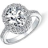 Stile vintage Taglio brillante Canarino giallo chiaro 4CT Oval Pave Halo Cubic Zirconia AAA CZ Promise Engagement Ring per do