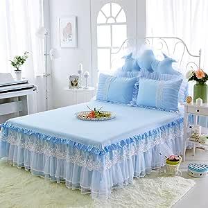 47x79inch M/&K Dentelle Blanche Lit Jupe Coton Doux Couverture De Lit De Princesse Moderne Antipoussi/ère Couvre-Lit-A 120x200cm
