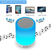Horoly Portable Touch Sensor Smart Speaker Wireless LED Table Light Bluetooth Speaker with FM, AUX, TFT Support