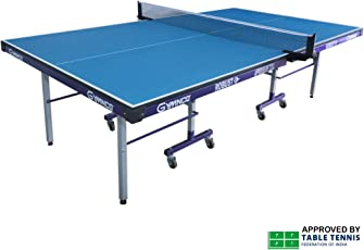 Gymnco Robust Iron Tech Table Tennis Table With 75 MM Stopper Wheel (Top 25 mm Laminated Compressed & Free TT Table Cover + 2 TT Racket & 3 Balls)