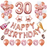 ASANMU Decorazione di Palloncini Oro Rosa, 30 Anni Decorazioni per Feste di Compleanno, Palloncino Foil Coriandoli Buon Compl