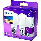 Philips ampoule LED Standard E27 75W Blanc Chaud Dépolie, Verre, Lot de 2