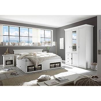 Schlafzimmer, Schlafzimmermöbel, Set, Komplettset, Schlafzimmereinrichtung,  Komplettangebot, Landhausstil, Weiß, Weiss, Pinie, 4 Tlg.