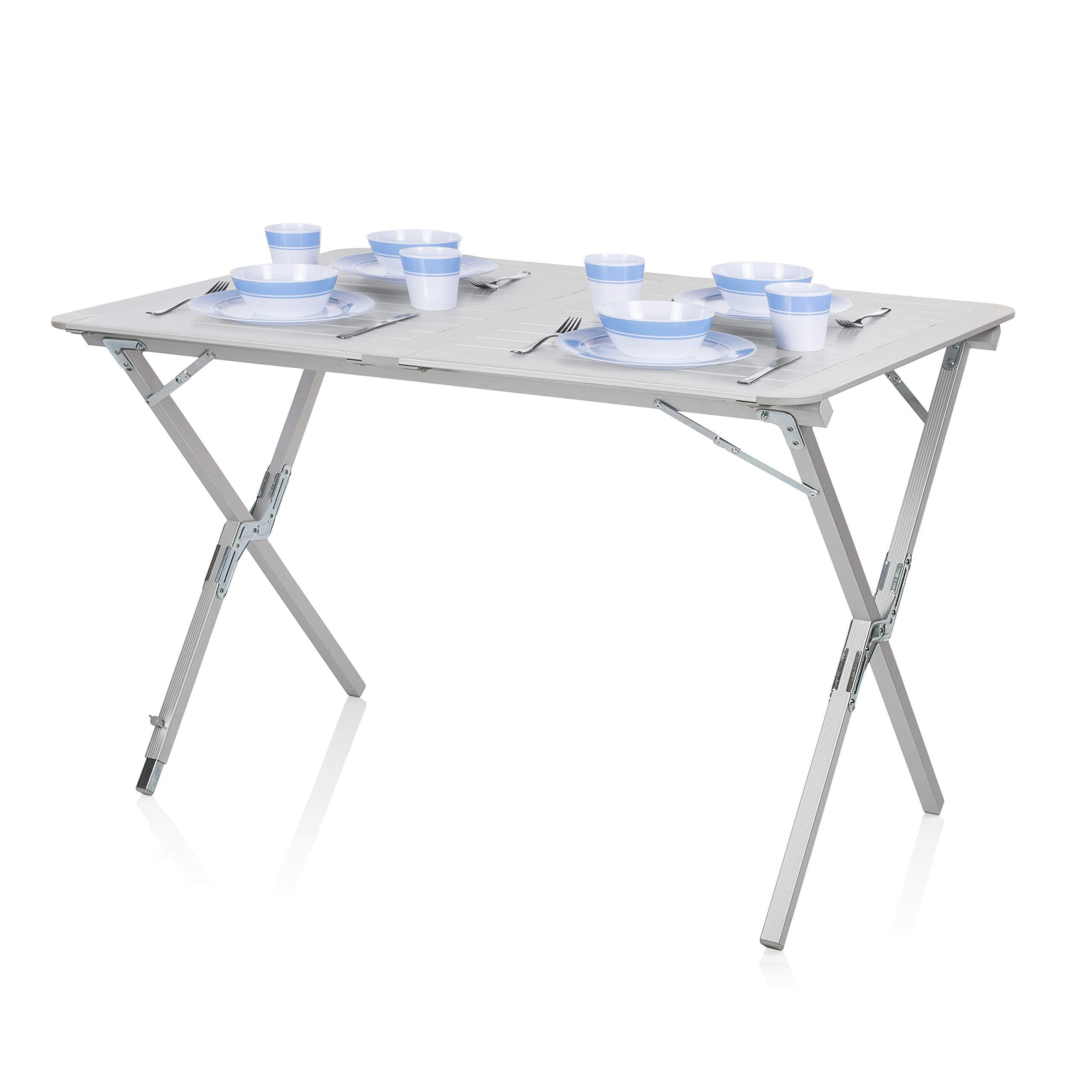Tavolo Campeggio Alluminio Avvolgibile.Tavolo Da Campeggio Campart Travel Ta 0802 110 X 70 Cm Alzata Avvolgibile Grigio Van Life It