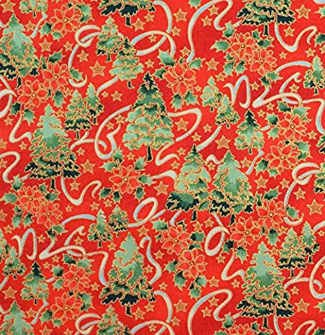 Quilting Patchwork Craft Fabric Red and Green Pattern by Fabric Freedom Top Quality 100% Cotton British Design for Sewing, Quilting & Patchwork Projects-Lovely Quilt Print for Bedding Curtains Furnishing Clothing – Priced by Quarter