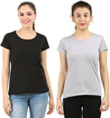 Midaas Women's Cotton Tshirts(Pack of 2)