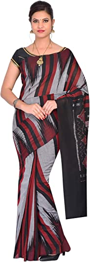 ODISHA HANDLOOM Women's Sambalpuri Ikat Cotton Saree (Grey)