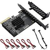MZHOU PCIe SATA kaart 6 poort, PCIe x4, PCIe naar SATA-controller-uitbreidingskaart, 6 Gbit/s SATA 3.0 PCIe-kaart met 6 SATA-