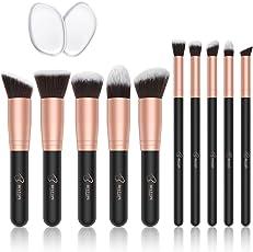 BESTOPE Make-up Pinsel Premium Kosmetik Make-up Pinsel Set Synthetische Kabuki mit 2 Pack Silikon Make-up Schwämme Eyeliner Blush Contour Bürsten für Powder Creme Concealer Pinsel Kit (10 Stücke, Rose Gold)