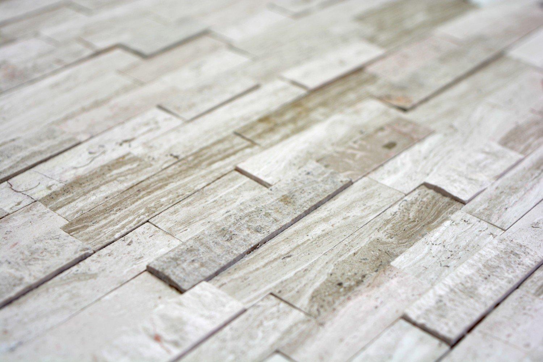 Legno Naturale Bianco : Piastrelle autoadesive a mosaico in marmo naturale grigio bianco
