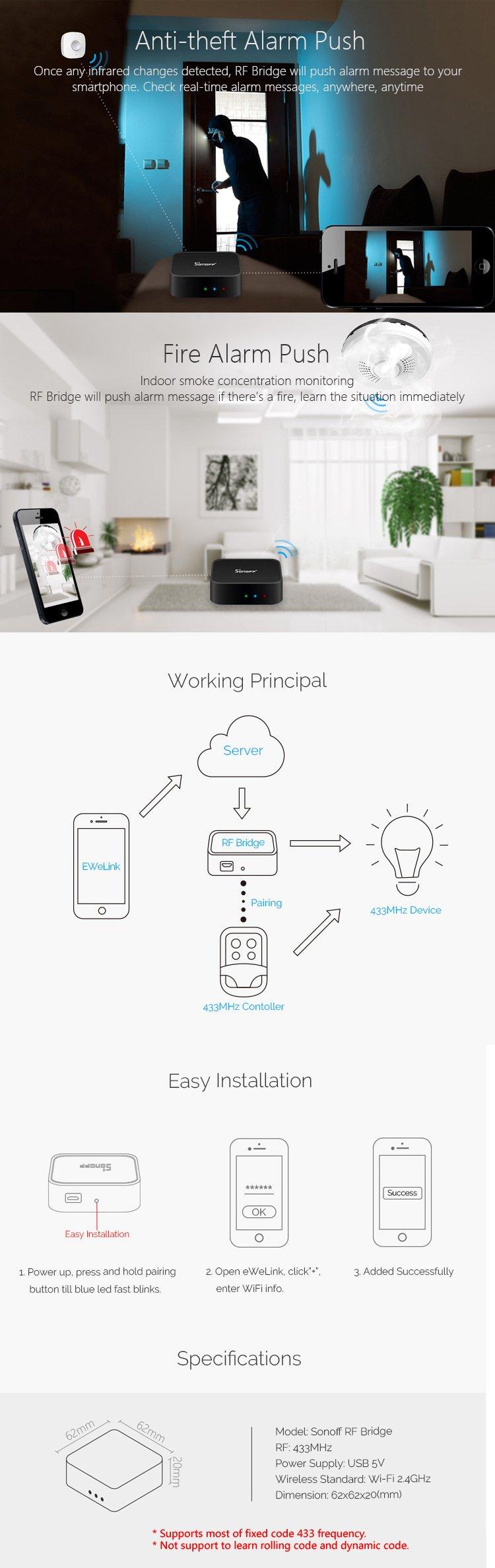 Aihasd Sonoff RF Bridge WiFi 433Mhz + PIR2 PIR Sensore Umano a infrarossi +  DW1 Porta e Finestra Sensore di Allarme per casa Intelligente Controllo