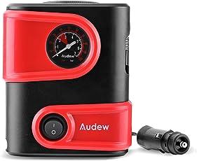 Audew Luftkompressor Mini Luftpumpe Kompressor Tragbare Elektrische Reifen Luft Pumpe für Auto, Fahrrad und Basketball Kompakt & Leichte Mit Manometer 12V DC