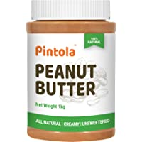 Pintola All Natural Peanut Butter (Creamy) (1kg) | Unsweetened | 30g Protein | Non GMO | Gluten Free | Cholesterol Free