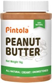 Pintola All Natural Peanut Butter  Creamy   1kg  | Unsweetened | 30g Protein | Non GMO | Gluten Free | Cholesterol Free