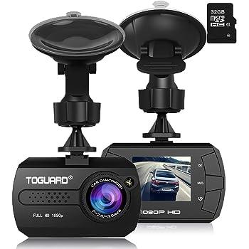 TOGUARD Mini 1080P Auto Kamera Dashcam DVR Recorder Eingebauter G-Sensor Bewegungserkennung Loop Recorder Nachtsicht mit Micro SD-Karte 32 GB
