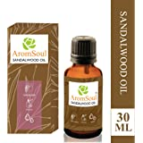 AromSoul 100 % Natural and Pure Therapeutic Grade Sandalwood Essential Oil 30 ml For Healthy Skin, Face, Hair Care, Relaxing