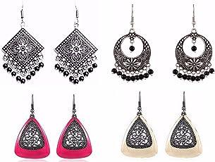 Efulgenz Jewellery Combo Designer Fancy Party Wear Oxidised Silver Dangler Earrings for Girls and Women