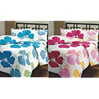 ZYLISH Beautiful Blue & Pink Flower Prints Reversible Single Bed AC Blanket/Dohar Combo Set of 2 Pc