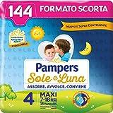 Pampers Sole e Luna Pannolini Maxi, Bambini Unisex, Taglia 4 (7-18 kg), 144 Pannolini