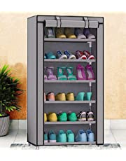 Sasimo Multipurpose Portable Folding Shoe Racks for Home Organisers with Waterproof cover-6-Tiers- Grey