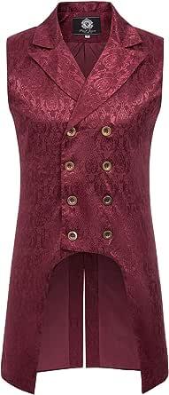 Paul Jones Mens Gothic Steampunk Double Breasted Vest Brocade Waistcoat PJ0081, Wine, XL