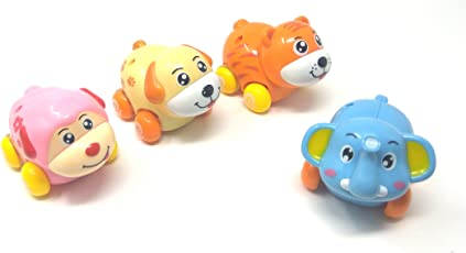 Akrobo Push and Go Friction Powered Cartoon Animals Toy Set for Toddlers