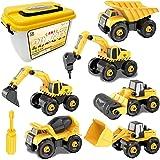 Desmontar y Ensamblarde Vehículo de Construcciones Juguete Excavadora, 6 Camiones en 1 con herramientas para Niño y Niña de 3