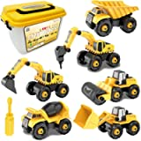 Take-Apart Construction Vehicles Excavators Truck Toy with Storage Box, 6 in 1 DIY Building Educational Gift Toys for…