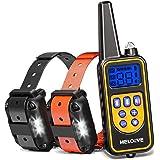 Meloive Collar de Adiestramiento Dos Perros, Recargable y Resistencia al Agua de IP67 con un Alcance de 800m con 99 Niveles d