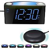 Väckarklocka med Sängskakare, Bordsklocka med Stor LED-Skärm och Dimmer, nattlampa, USB-laddare, Big Snooze-Knapp, Höglarm, 1