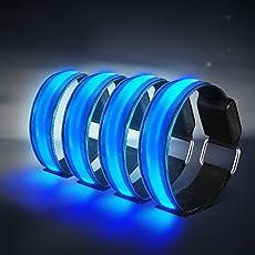 Alviller 4 Stück LED Armband, Reflective LED leucht Armbänder Lichtband Kinder Nacht Sicherheits Licht für Laufen Joggen Radfahren Hundewandern Running Jogging und andere Outdoor Sports