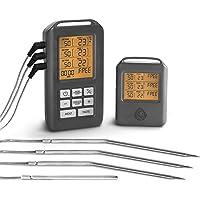 Thermomètre de Cuisine Numérique pour Barbecue 3 Sondes Température programmable ou préréglée Récepteur sans fils Écran…