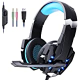gamingdio PC Gaming Headset, Over Ear Kopfhörer mit Mikrofon, Noise Cancelling, LED-Licht, Bass Surround, Soft Memory Ohrensc