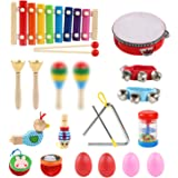 LinStyle Instrument de Musique pour Enfant, 24Pcs Instruments de Musique Enfants Set en Bois Percussion pour Bébé avec Xyloph