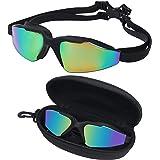 BEZZEE PRO zwembril – Unisex zwembril voor volwassenen - UV beschermd getinte lens lek bewijs – gespiegelde triatlon zwembril