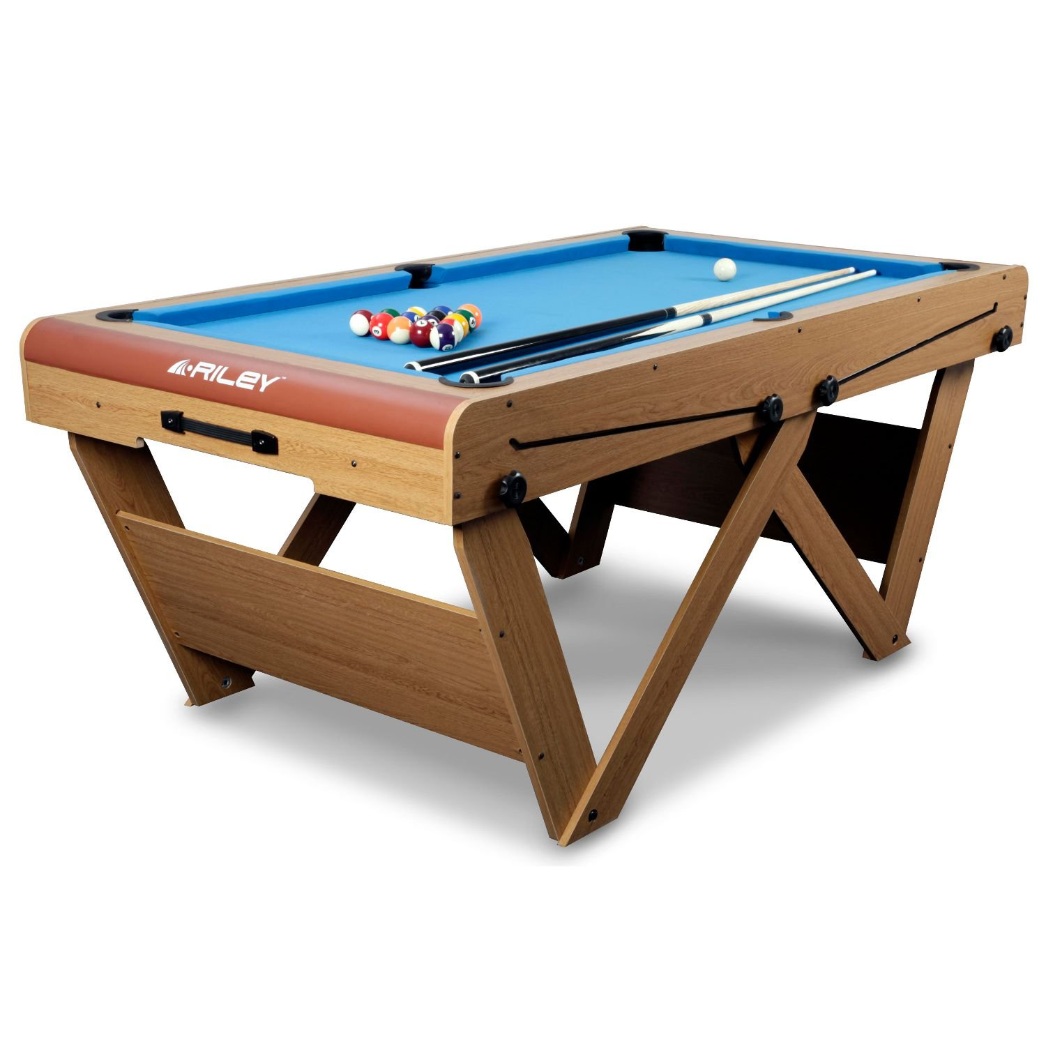 Folding legs pool table for sale - Bce Men S W Leg Folding Pool And Snooker Table Oak 6 Inch Amazon Co Uk Sports Outdoors