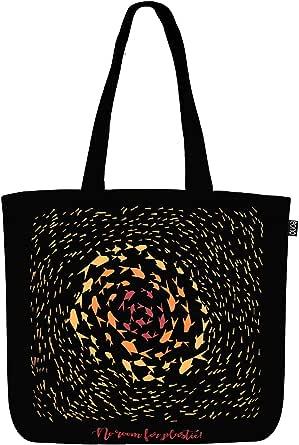 Eono Große Leinen-Einkaufstasche aus Baumwolle, wiederverwendbar, umweltfreundlich, Einkaufstasche für Frauen – bedruckt – kein Platz für Kunststoff