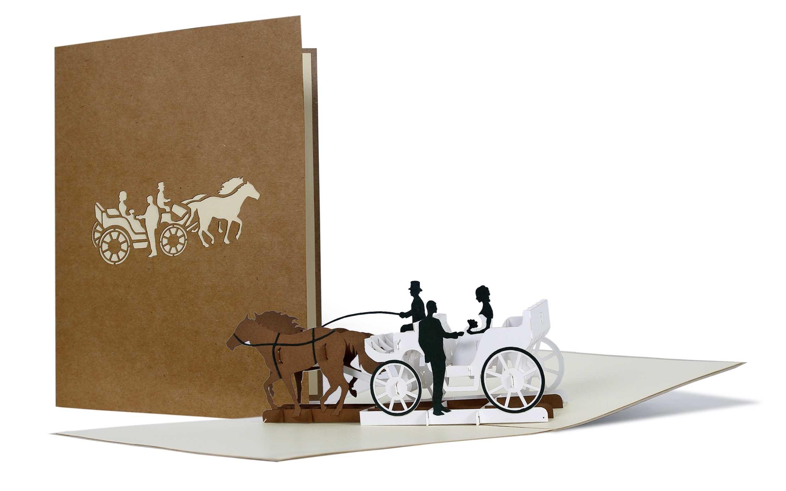Schöne Karte zur Hochzeit aus Kraftpapier, Paar in Hochzeitskutsche, Karte für Verliebte, Hochzeitskarte…
