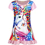 AmzBarley Camisón de Algodón Pijama Niña Unicornio Chica Manga Larga Vestido Fiesta Entero una Pieza Ropa de Dormir Traje Dis