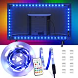 Tira LED 2.2M, OMERIL Tiras LED TV USB Impermeable con Control Remoto, Tira Luz LED RGB con 16 Colores y 4 Modos, Retroilumin