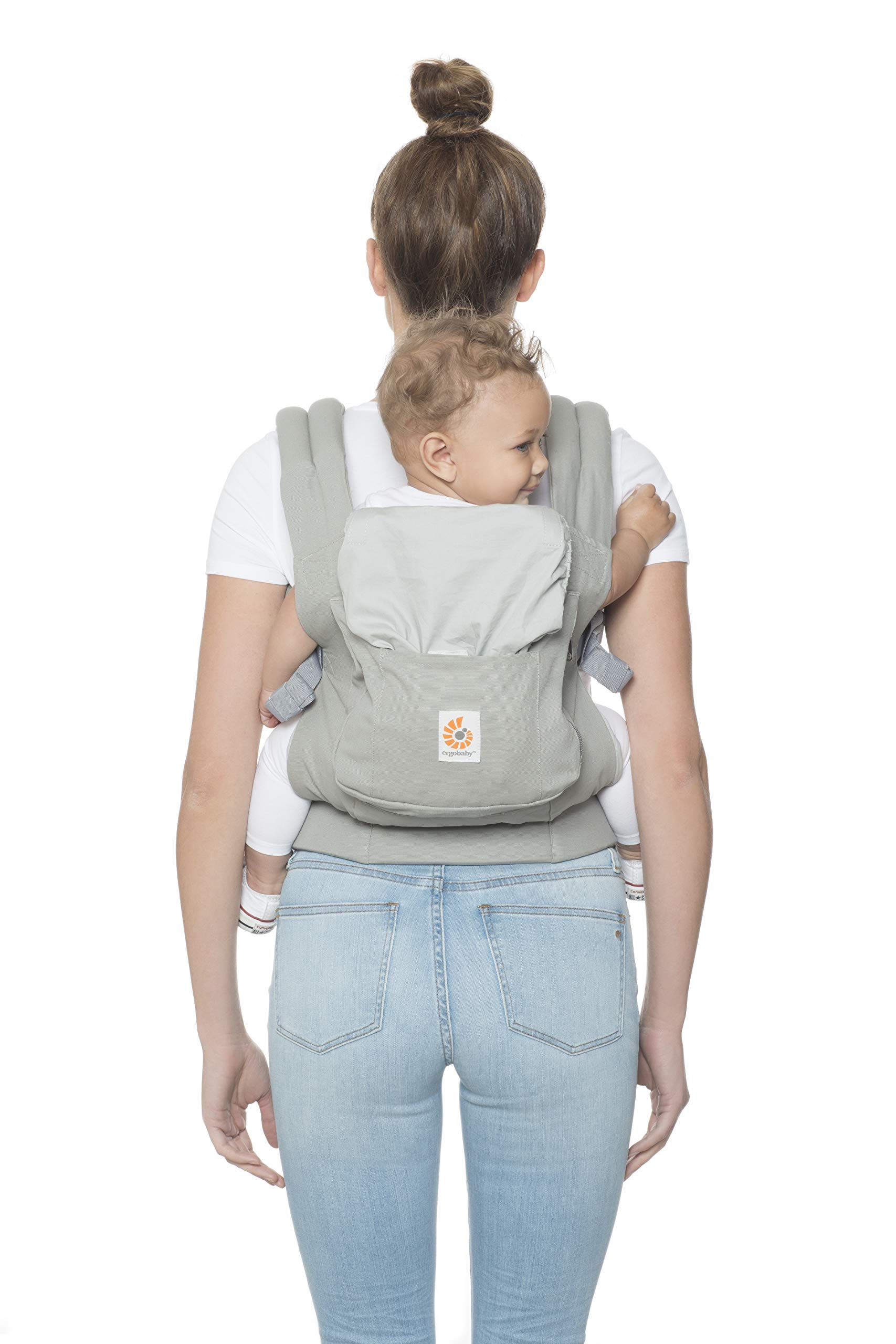 "Ergobaby Front and Back Original Baby Carrier, Pearl Grey Ergobaby Ergonomic baby carrier - ergonomic for baby with wide deep seat for a spread-squat, natural ""m"" seated position. Baby carrying system with 3 carry positions:  front-inward, hip and back. from baby to toddler: 5.5*-20 kg Maximum wearing comfort - lumbar support waist belt (adjustable from 66-140 cm / 26-52 in) that can be adjusted to the height of the carry position. 9"